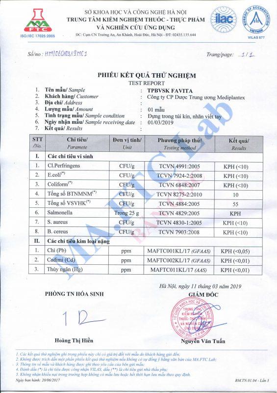 giấy chứng nhận favita