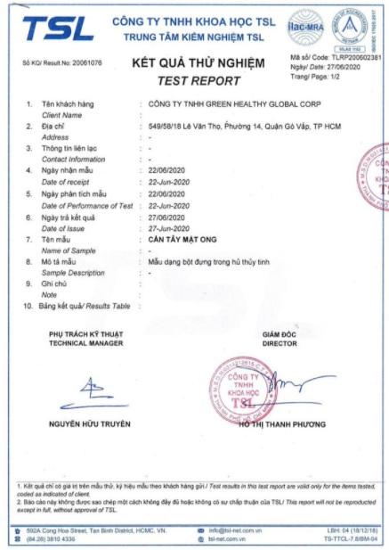 giấy chứng nhận sản phẩm cần tây mật ong Motree